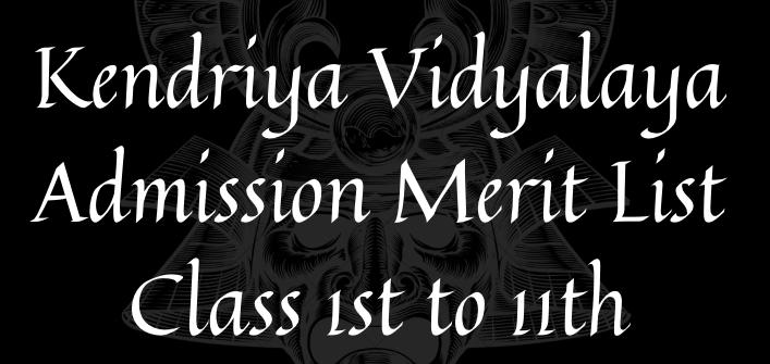 KVS Admission Merit List 2021-22