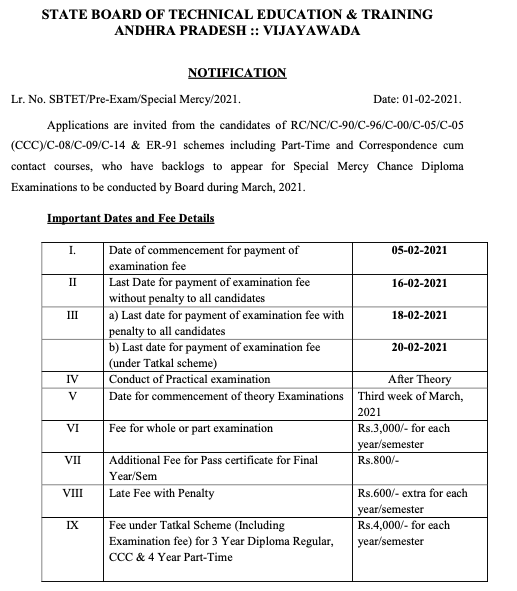 ap sbtet exam date 2021