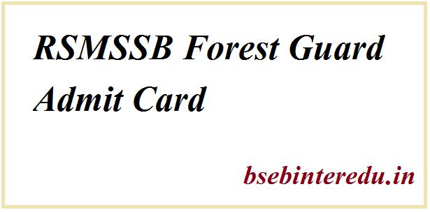 RSMSSB Forest Guard Admit Card 2021
