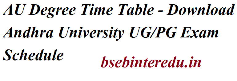 AU Degree Time Table 2021