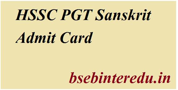 HSSC PGT Sanskrit Admit Card 2021