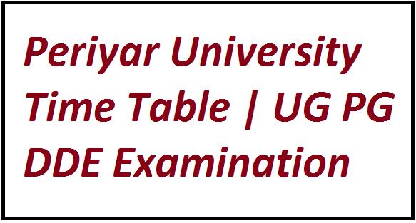Periyar University Time Table 2021