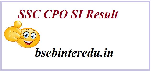 SSC CPO SI Result 2021