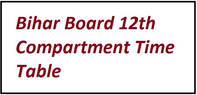 Bihar Board 12th Compartment Time Table 2021